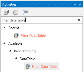 Search for the Filter Data Table activity