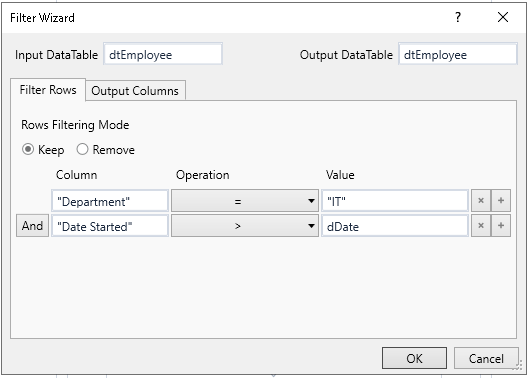Configure the Filter Data Table activity