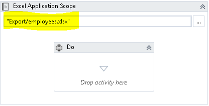 Excel Application Scope activity