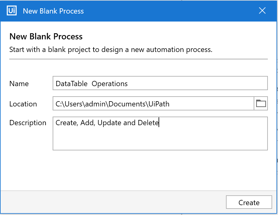 Data Table Operations UiPath project