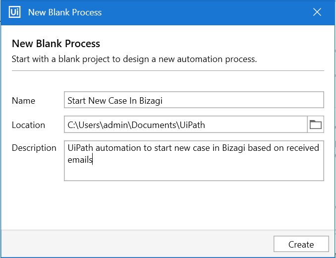 New UiPath Process
